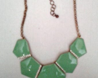 """Gold Tone Necklace Turquois Sea Green Enamel 5 Sections Rhinestone accents Gold tone chain 20.5""""  Karen Snider"""