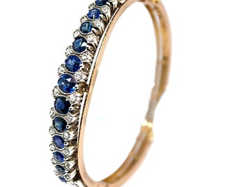 Bracelet yellow gold 18K and money sapphires and diamonds