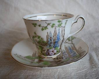 "Vintage China Teacup and Saucer -Salisbury Fine Bone China- ""Arcadia"" - Made in England"