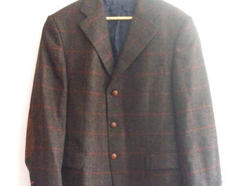 Barbour Brown 100% Wool Chequered Blazer Jacket with Elbow Patches, sz. 25 / L