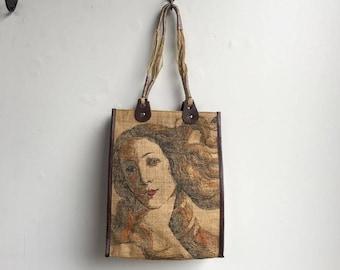 Jute Tote Bag with Screen Print // Handmade All Natural Fiber Jute Bag