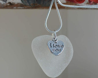 Sea glass necklace heart seaglass love necklace pendant jewellery jewelry Celtic Sea Glass Gift for Her Silver plated chain One of a kind 10