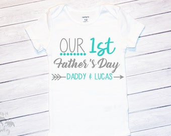 Baby Boy's Our First Fathers Day Onesie, Personalized Fathers Day Shirt, Fathers Day Onesie, Fathers Day Gift, Boys Fathers Day Shirt