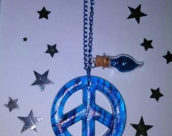 1PC Blue & Purple Peace Sign w/ Miniature Bottle