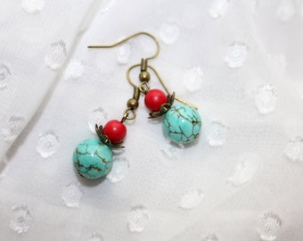 Turquoise and Red Drop Earrings/Boho Earrings/Summertime Jewelry/Southwest/Girlfriend Gifts/Gifts for Wife/Gifts for Daughter/Gifts for Her