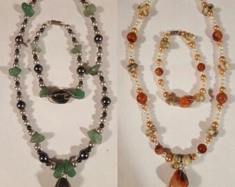 Stone Necklace and Bracelet Sets