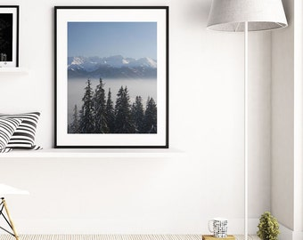 Mountain print wall decor Modern forest photography Landscape wall art  Nature mountains poster Pine trees decoration bedroom Printables