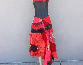 One of a Kind Corset Red + Black Patchwork Dress