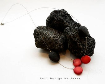 Necklace - Lava and red coral - Lava Necklace - Red Coral Necklace - Icelandic Jewelry - Icelandic Design -