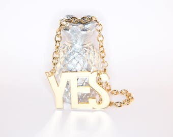 YES shimmer perspex necklace