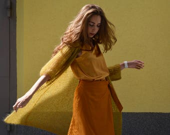 Wool mustard mohair cardigan, Gold  long cardigan, Mohair knitted cardigan, Chunky women cardigan, Open front cardigan,loose knit cardigan