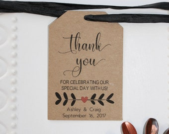 Kraft Wedding Thank You Tags - Wedding Favor Tag