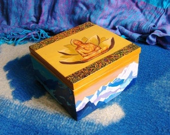Wooden Box, Lotus, Memory Box, Hand-Painted Box, Mountain Tibet, Buddhism, Meditation