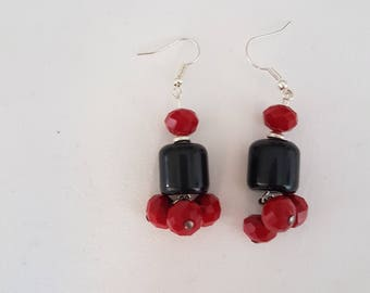 Earrings red and black No.6