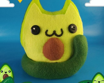 Kawaii Avocado Cat Food Plushie, Cute Stuffed Cat, Unique Cat Lover & Food Lover Gift