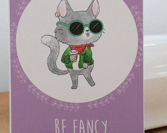 "Postcard cat of pastell purple ""be fancy"""