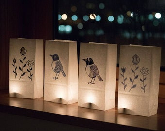 Pack of 4 atmospheric light printed paper bag