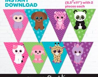 Beanie Boo Birthday Banner, Beanie Boo Party Banner, Beanie Boo Birthday Party, Beanie Boo Printable, Pet Adoption Party, Digital File