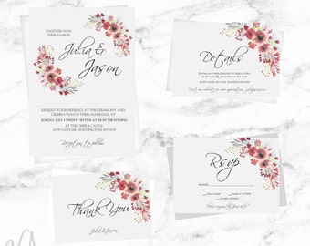 Wedding invitation template set