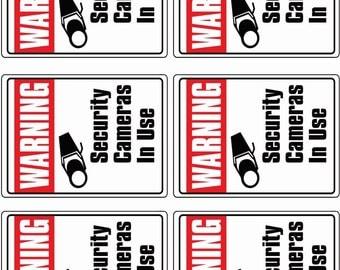 6 CCTV VIDEO SURVEILLANCE Security Burglar Alarm Decal Warning Sticker Signs