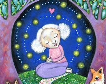 Fox totem wall art Firefly Girl art print animal guides art children's room firefly spiritual art nursery wall decor gift whimsical shaman