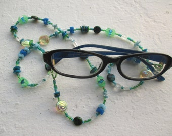 Beaded Eyeglass Holders - Glass, Natural Stone, Coral in Blues and Aquas