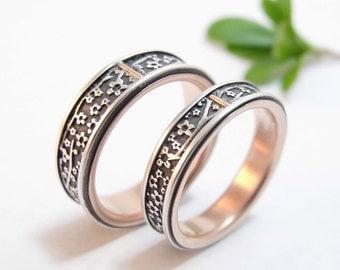 wedding ring set wedding band set cherry blossom silver and 14k rose gold mens wedding - 14k Gold Wedding Ring Sets