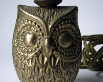 Vintage - Owl - Brass - Decorative Lamp - Mood Lighting - Detailed Feathers and Eyes - Small - Owlet - Animal Lamp - Gifts Under 50 dollars
