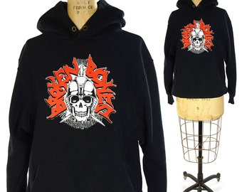 80s Punk Band Hoodie / Vintage 1980s Broken Bones Band Sweatshirt / English Hardcore Punk Rocker Pull Over / Black with Skull / Med