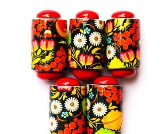 Red hot flower beads - 5 Handmade polymer clay beads - flower barrel beads - Handmade beads