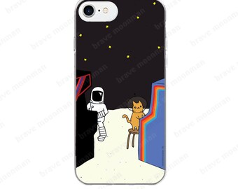 iPhone 7 Case Astronaut Brave Moonman Retro Arcade Video Games Clear iPhone 6 Case Space Kitty Cute Phone Case iPhone 6s Case Gift Idea