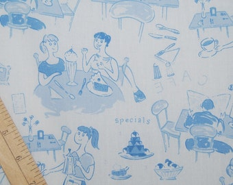 Retro novelty conversation fabric ladies who lunch cafe bakery fabric semi sheer fabric