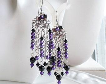 Purple Black Long Chandelier Earrings, Long Pearl Earrings, Purple Chandelier Earrings, Boho Chandelier Earrings, Black Silver Long Earrings
