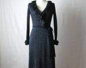 70s Wrap Dress Metallic Dress with Ruffles Lurex Dress