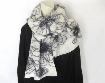 Felted Scarf, Felted Shawl, White Scarf, Evening Shawl, Wool Wrap, Black Off-White Scarf, Woman Scarf, Floral scarf, Spring Scarf,Eco Scarf