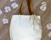 RESERVED for Jamie White Leather Tote Bag Deer Antler Fringe by Stacy Leigh