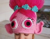 Crocheted Inspired Troll Hat (Poppy), Free shipping in the USA
