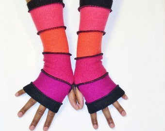 Fingerless Gloves, Armwarmers, Patchwork Gloves(Black/Magenta/Red/Tangerine/Salmon/Black) by Brenda Abdullah
