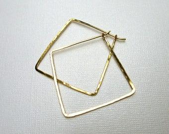 Square Gold Hoop Earrings, XL Square Hoops, 14KT Gold fill, Modern Jewelry, Hammered Hoop Earrings, Minimalist, Geometric Jewelry, Skinny