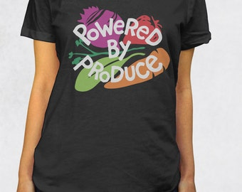 Ladies' Scoop Tee - Powered by Produce Shirt - Sizes XS-S-M-L-XL-2XL - Vegetarian Veggie Healthy Smoothie Paleo Tshirt Womens Clothing