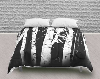 Graphic Birch Tree Design Queen Comforter in Black and White Palette