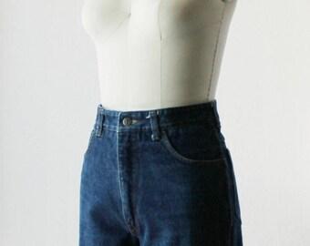 1970s High Waist Raw Hem Denim Shorts