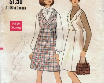 1960s Vogue 7635 Vintage Sewing Pattern Misses Jumper, A-line Jumper, High Waist Jumper Size 12 Bust 34