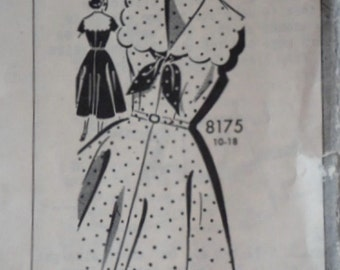 Vintage 50's Mail Order 8175 Sewing Pattern, Misses' Dress with Scalloped Sailor Collar, Size 12, 32 Bust, 1550's Fashion