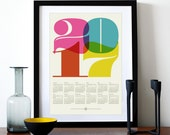2017 calendar poster, retro kitchen art, mid century modern, office art print, Eames era, typography poster, graphic design, A3 wall decor