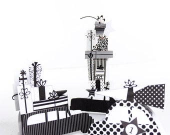 Hipster advent gift boxes - downloadable - gift boxes - monochromatic