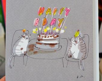 Happy Birthday Card - Cake Cats - Large Card - Cat Birthday Card