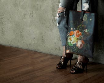 Leather Tote Bag / Laptop bag / shopper - Floral Il Mazzetto Print