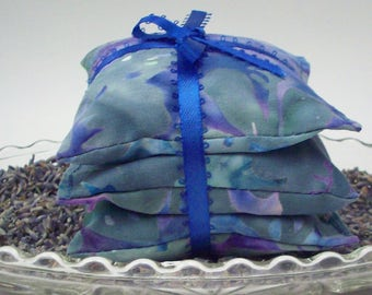 Lavender Sachets - Set of 3 Blue Gray and Purple Batik Lavendar Drawer Fresheners