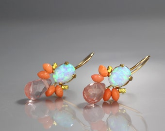 Birthstone Earrings, Opal Coral Bee Earrings, October Birthstone, Colorful Gemstone Earrings, Opal Earrings, Gift for Her, Coral Earrings,